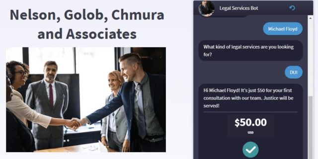 Chatbot website for law firms