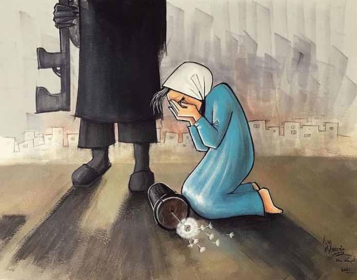 Σε μια δεύτερη ανάρτησή της, η Hassani, παρουσιάζει τ ίδια πρόσωπα, στο ίδιο σκηνικό. Η γλάστρα βρίσκεται στο πάτωμα, όπωσ ακριβώς και η ελπίδα τους.