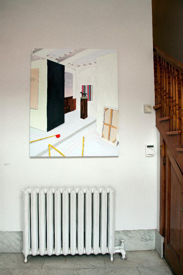 Sarah Osborne, Montage dans la banque du plasticien, 2014, Acrylique sur toile, 152 cm x 121,92 cm Crédits photographiques: Anne-Renée Hotte