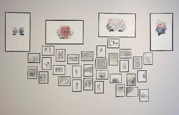 Marie Poirier Landry, L'épopée Molinari, 2014, Collages, dessins, transferts acétone, 55,88 cm x 88,90 cm et 20,32 cm x 27,94 cm Crédits photographiques: Anne-Renée Hotte