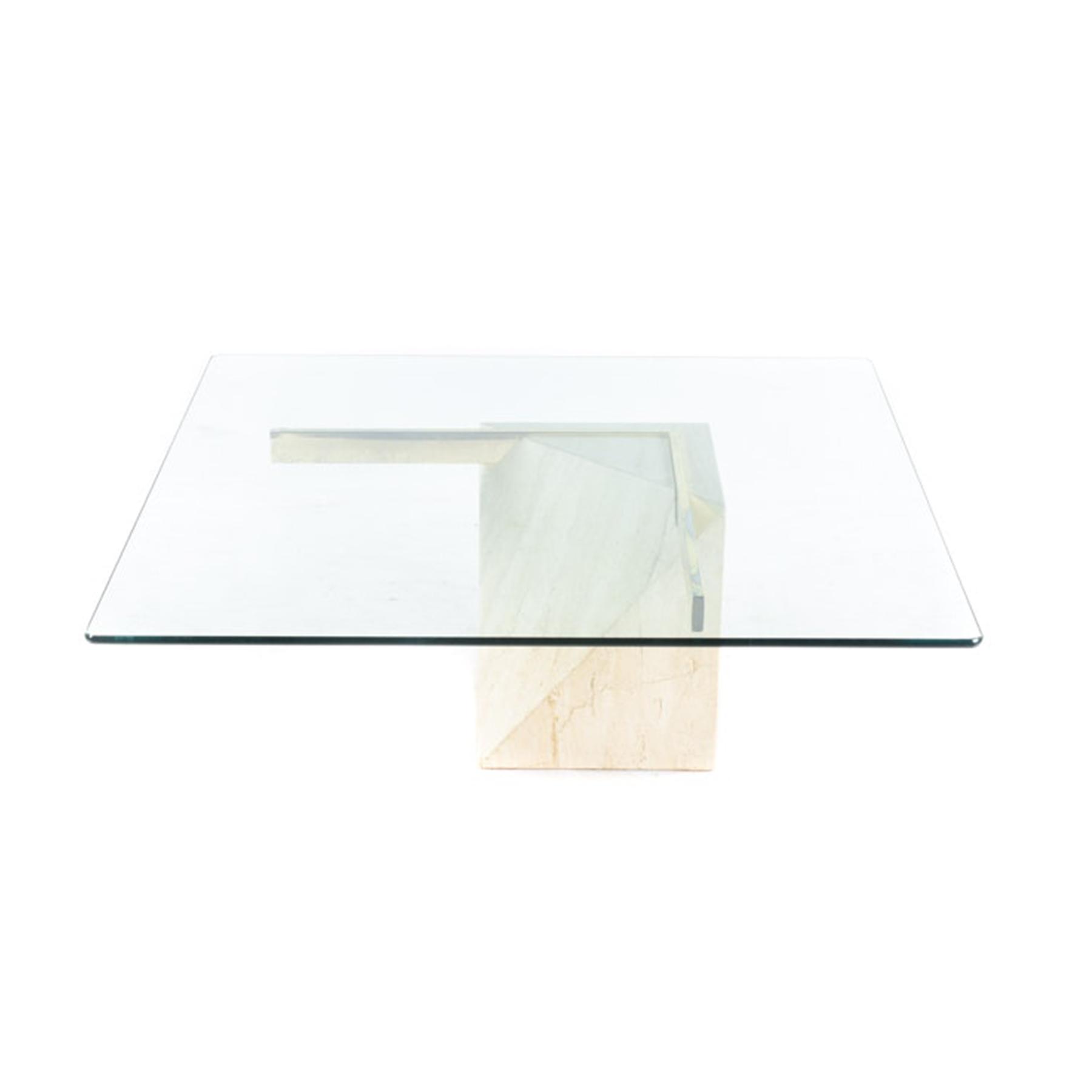 coffee table glass travertine artedi