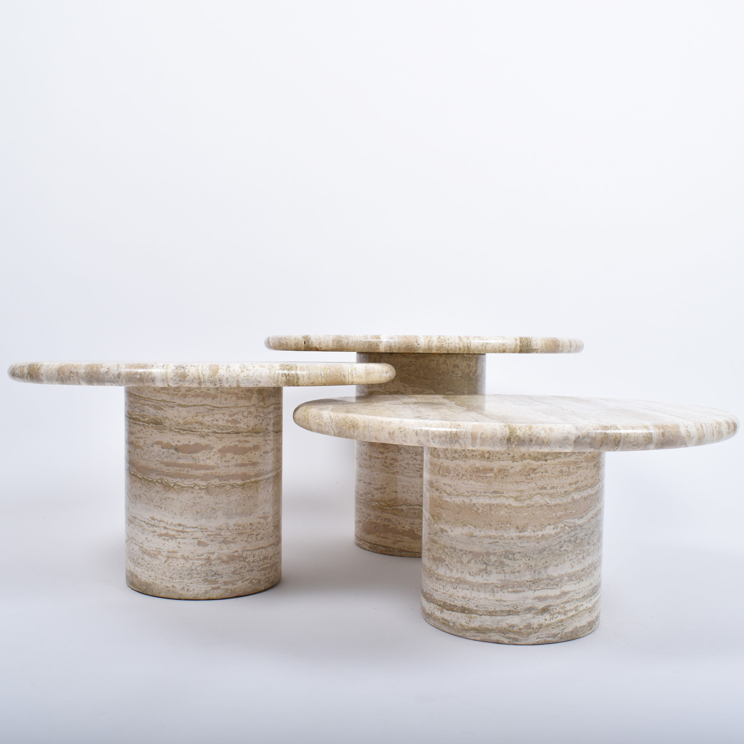for sale set of three travertine coffee tables