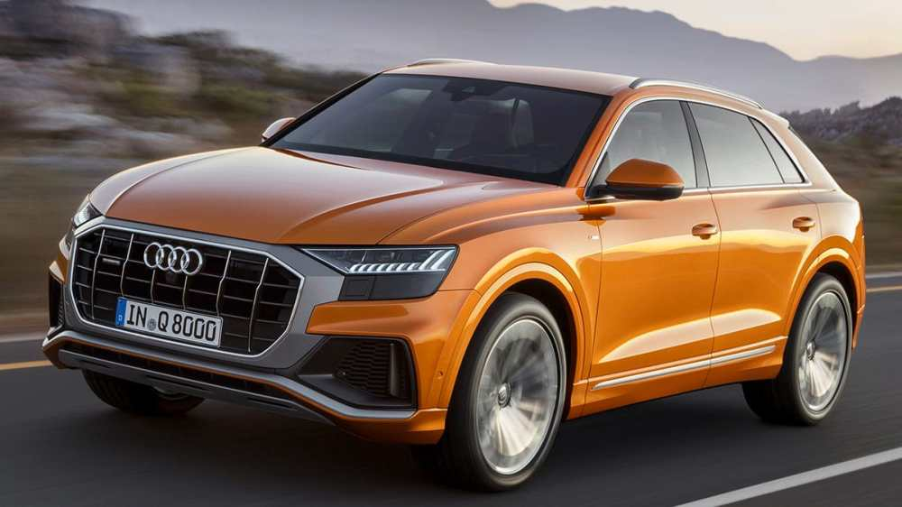 medium resolution of front three quarter view of 2019 audi q8 suv