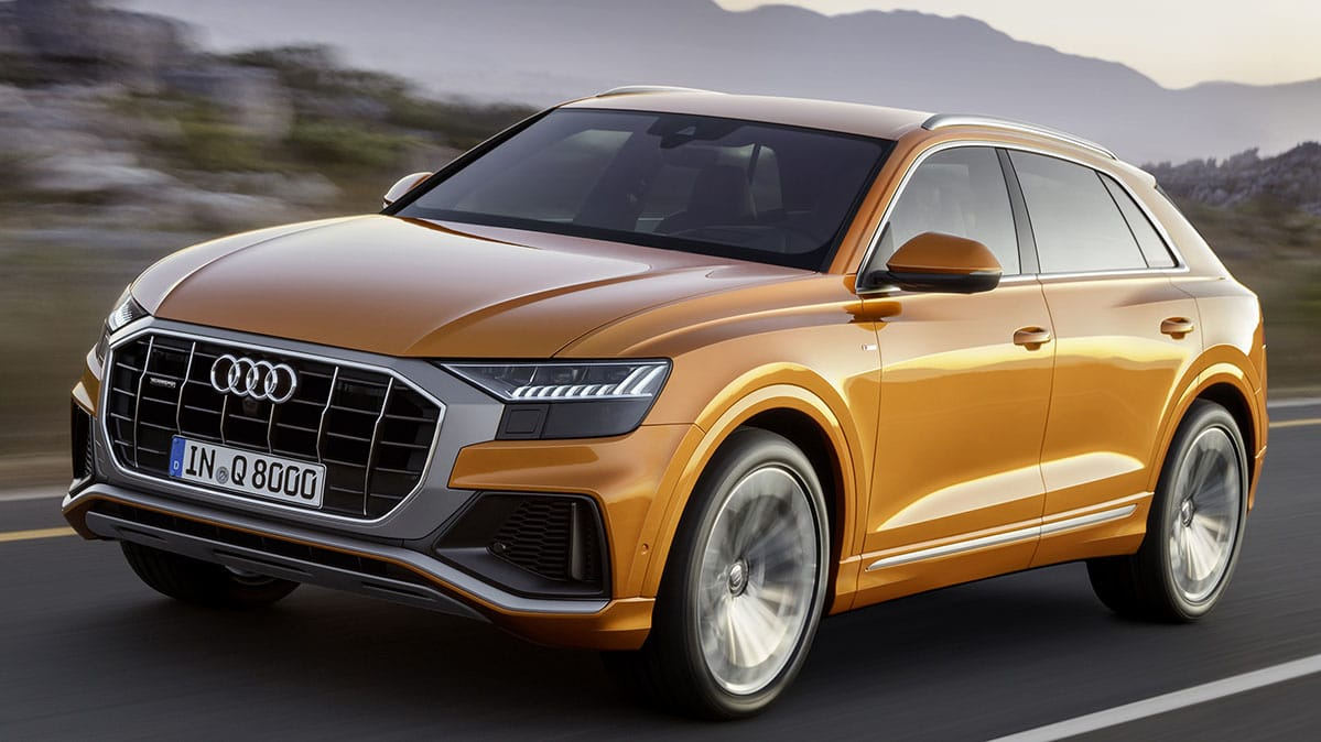 hight resolution of front three quarter view of 2019 audi q8 suv