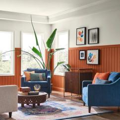 Wall Painting Colors For Living Room Unique Clocks Hottest Interior Paint Of 2019 Consumer Reports Beadboard Painted Sherwin Williams Cavern Clay Sw7701