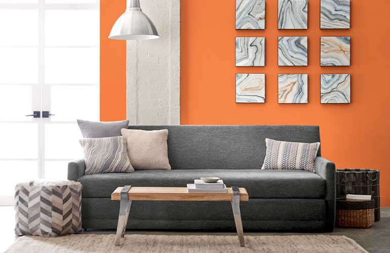 latest paint colors for living room big couches small hottest interior of 2019 consumer reports valspar orange slice 2002 1b creates a sunny backdrop this