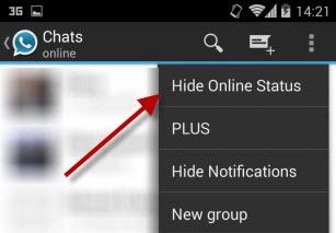 Opção para não aparecer online no WhatsApp+