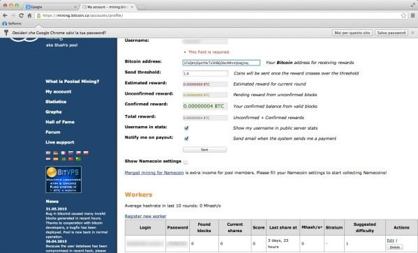 Gestisci account - aggiungi Bitcoin address 2