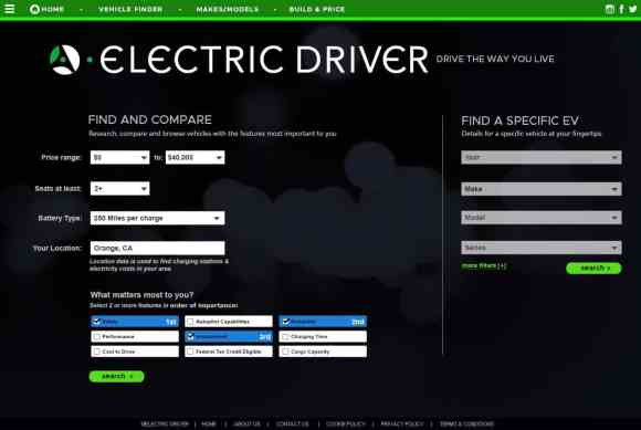 Electric Driver's needs-based-search matches you with top three vehicles that closely meet your needs.