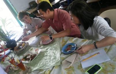 Judges enjoy their food tasting chores