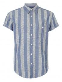 Topman Blue Dash Stripe Shirt