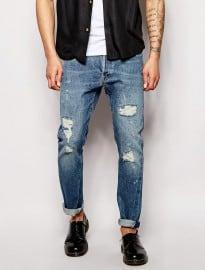 Levis Vintage Clothing Jeans 1966 501 Custom Selvedge Slim Tapered Fit Silver Rebel Distressed