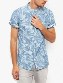 New Look Blue Leaf Print Denim Short Sleeve Shirt