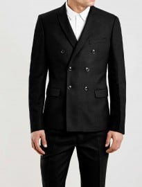 Topman Limited Edition Black Double Breasted Skinny Fit Suit Jacket