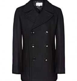 Reiss Hummingbird Double Breasted Wool Peacoat Navy