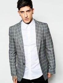 Sisley Check Suit Jacket In Slim Fit