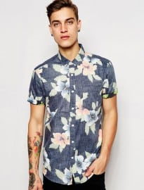 Asos Floral Shirt In Short Sleeve