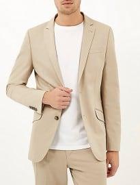 River Island Cream Cotton Woven Slim Suit Jacket