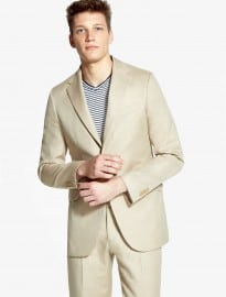 He By Mango Slim-fit Linen-blend Suit Blazer