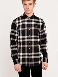 Chemise à carreaux noire Farah Chapel Large