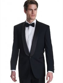 Moss Bros Regular Fit Satin Shawl Collar Dinner/tuxedo Jacket Black