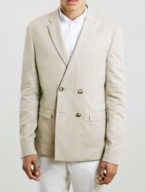 Topman Stone Double Breasted Cotton Blazer
