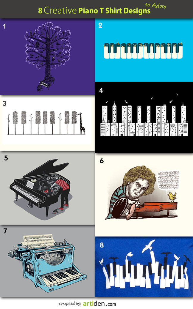 Creative Piano T Shirt Designs