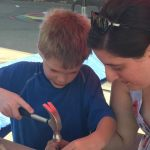 Metalsmithing instruction with Stephanie Brohman at ArtsFest 2016