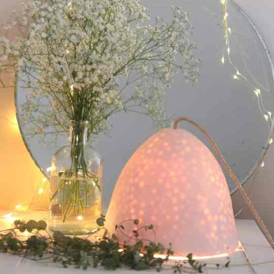 Lampe Gros Pois XL - Cordon Doré Porcelaine Brillante