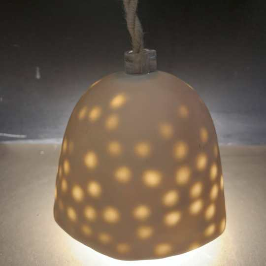 Lampe Gros Pois S Mate Beige