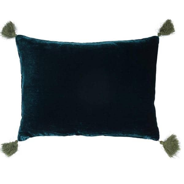 Coussin Goa Pompons Blue Coral