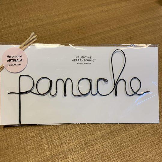 """Mot sculpté fil de fer """"Panache"""""""