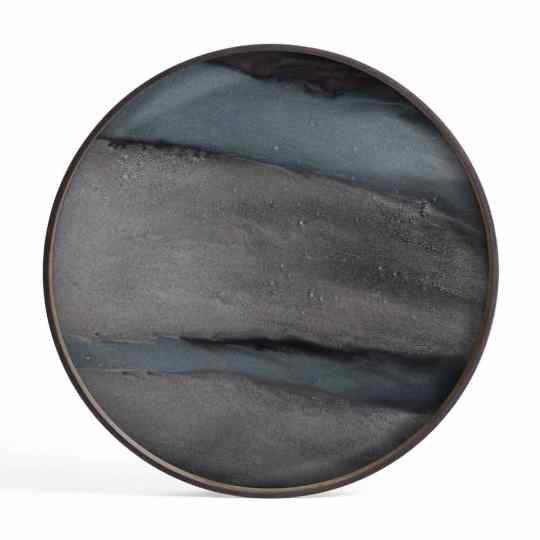 Plateau en verre organique graphite rond L