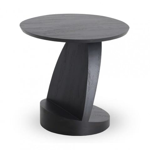 TABLE D'APPOINT OBLIC EN TECK Noir