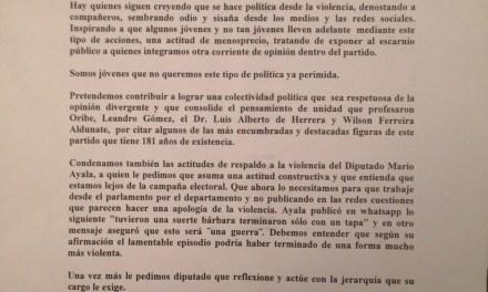 La agrupación Artigas Adelante acusa al diputado Mario Ayala de hacer apología de la violencia