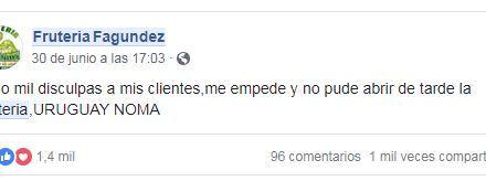 EL INGENIOSO MENSAJE DE UNA FRUTERÍA ARTIGUENSE PARA SUS CLIENTES