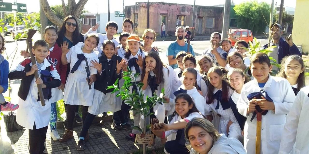 ALUMNOS DE LA ESCUELA 8 PLANTARON DECENAS DE ÁRBOLES FRUTALES EN EL BARRIO