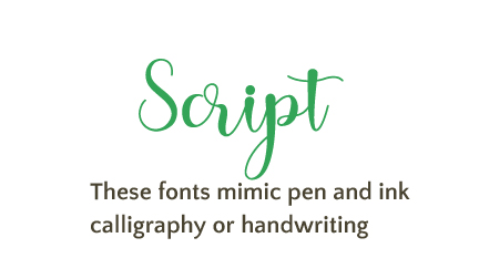 script font example with definition
