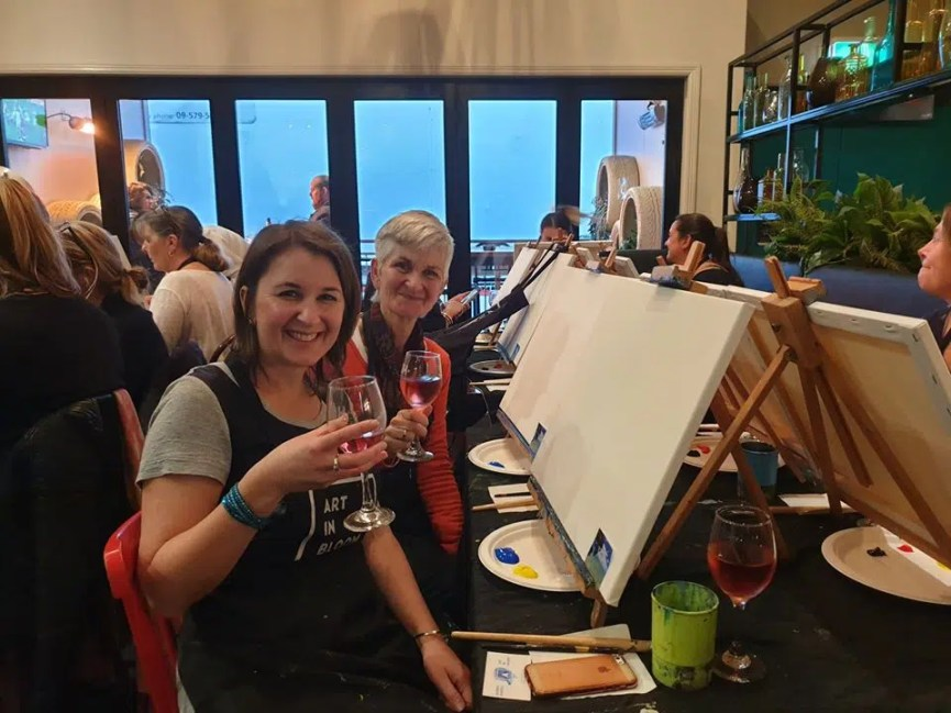 office Christmas party Auckland wine and paint