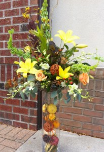 Dramatic fall centerpiece