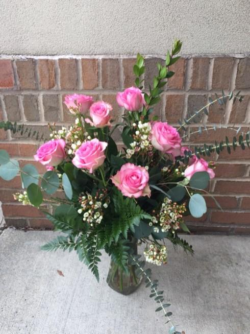 A Dozen Pink/Lavender Roses- $75