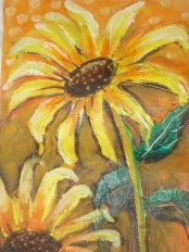 Nirmal Thakur Shining Sunflowers Acrylic 12x9 Inches 2010 3K