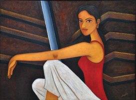 Sangeeta K Murthy Verve VI Oil on Canvas 36 x 48 Inches