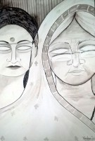 Vandana Zadoo Mother & Daughter Pen & Poster Color on Paper 24x18 Inches 12K