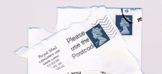 Stamp on envelope corner