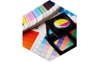 colour swatch and magnifying glass