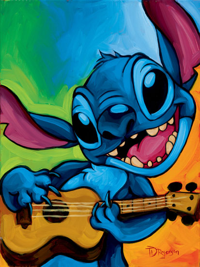 Stitch with Ukulele Embellished Giclee on Canvas by Tim