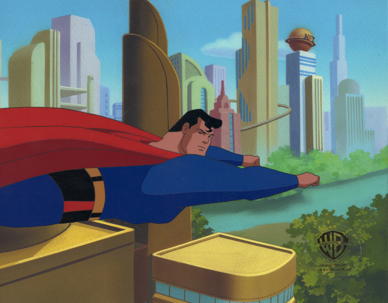 perman Flying Over Metropolis  Animated Series Original