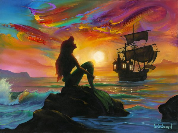 Waiting Ship In Little Mermaid Embellished Giclee Canvas Jim Warren