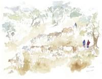 Watering the Cattle Field Sketch © Alison Nicholls 2014